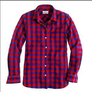 J Crew poppy plaid Flannel boy shirt size 2